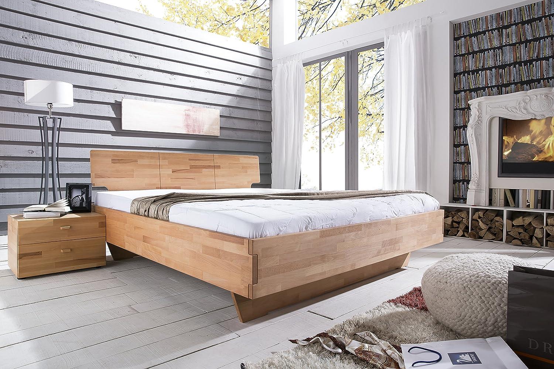 Bett 140 x 200 mit Nako teilmassiv Kernbuche geölt natur günstig online kaufen