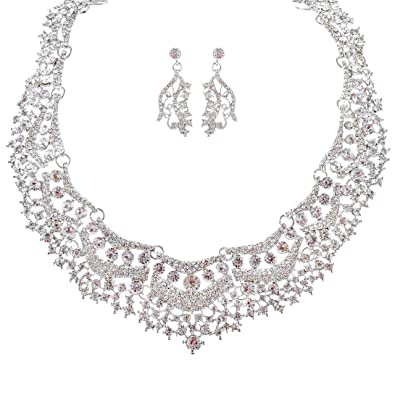 Bridal Wedding Jewelry Set Crystal Rhinestones Stunning Bib Necklace Silver