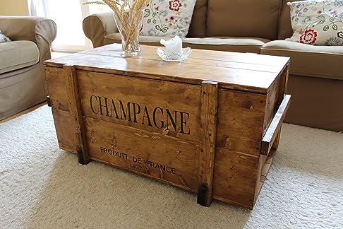Uncle Joe's Cassa con scritta Champagne di stile vintage shabby chic, legno, marrone chiaro, grande, 98 x 55 x 46 cm