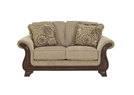 Lanett Tan Traditional Classics Wood and Fabric Loveseat