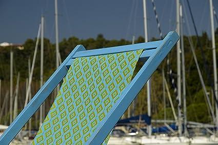 jaquio-Chaise longue Amarcord-Chasis madera azul vintage-Tejido jacquard azur-orange