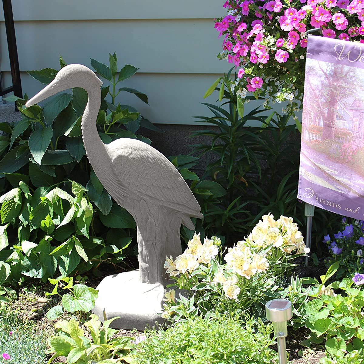 """EMSCO Group Great Heron Statue – Natural Granite Appearance – Made of Resin – Lightweight – 31"""" Height"""