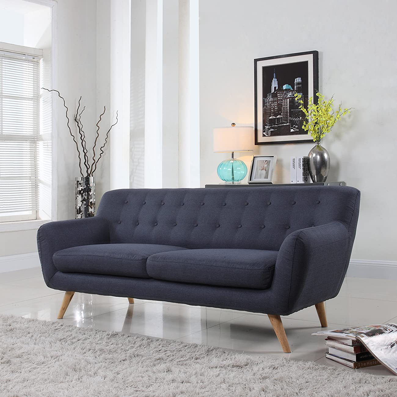 Mid-Century modern tufted linen fabric loveseat in various colors - polo blue, blue, light grey, yellow and red (Light Grey with Multi Color Buttons) 0