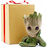 Baby Groot Flowerpot Kids Gift, Planter Pot Groot Gifts Toys Dolls Groot Pen Pot, Groot Pencil Holder for Desk, Grut Flower Pot Green Treeman Succulent Planter with Drainage Hole by Sgift (Color: Green, Tamaño: Thinking Groot)