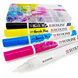 Royal Talens - Ecoline Liquid Watercolour Drawing Painting Brush Pens - Set of 5 in Plastic Wallet - Primary