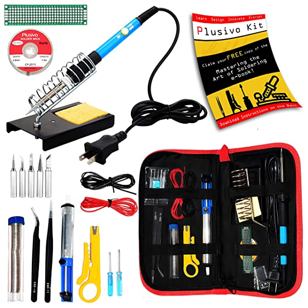 Soldering Kit - Soldering Iron 60 W Adjustable Temperature, Soldering Iron Stand, Soldering Iron Tip Set, Desoldering Pump, Solder Wick, Tweezers - Soldering Iron Kit for Electronics [110 V, US Plug] (Color: Black and Red, Tamaño: Medium)