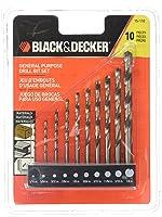 Black & Decker 15-110 High Speed Steel General Purpose Drill Bit Set, 10-Piece via Amazon