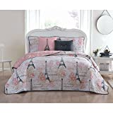 5 Piece Girls Pink White I Love Paris Quilt King Set, France Inspired Eiffel Tower Themed Bedding Floral Black Chic Modern Pattern Multi Rose Flowers Girly Flower Motif Pretty All Over, Polyester