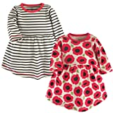 Touched by Nature Baby Girls' Organic Cotton Dress, 2 Pack, Poppy Stripe, 12-18 Months (18M)