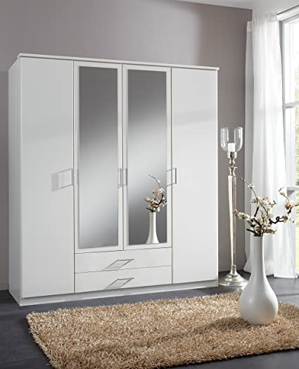 furniturefactor Roma Four Door Wardrobe, Wood, Matt Alpine White