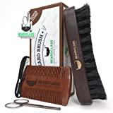 BEARDCLASS Beard Brush and Comb - 13 Rows REINFORCED Bristle -100% Wooden Boar Brush Kit Set with Curve Contour for Maximum Grip - Bonus Items: Mustache Comb and Scissors Set - Beard Care Grooming Kit