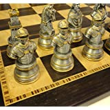 Medieval Times Large Crusades Knight Metal Busts Chess Men Set Gold and Pewter Color W/ 20