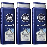 3-Pack Nivea Men Active3 16.9 Fl Oz 3-in-1 Body Wash