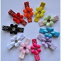 10 Pc. Satin Flower Childrens No Slip Hair Clip Set & FREE Hair bow holder!