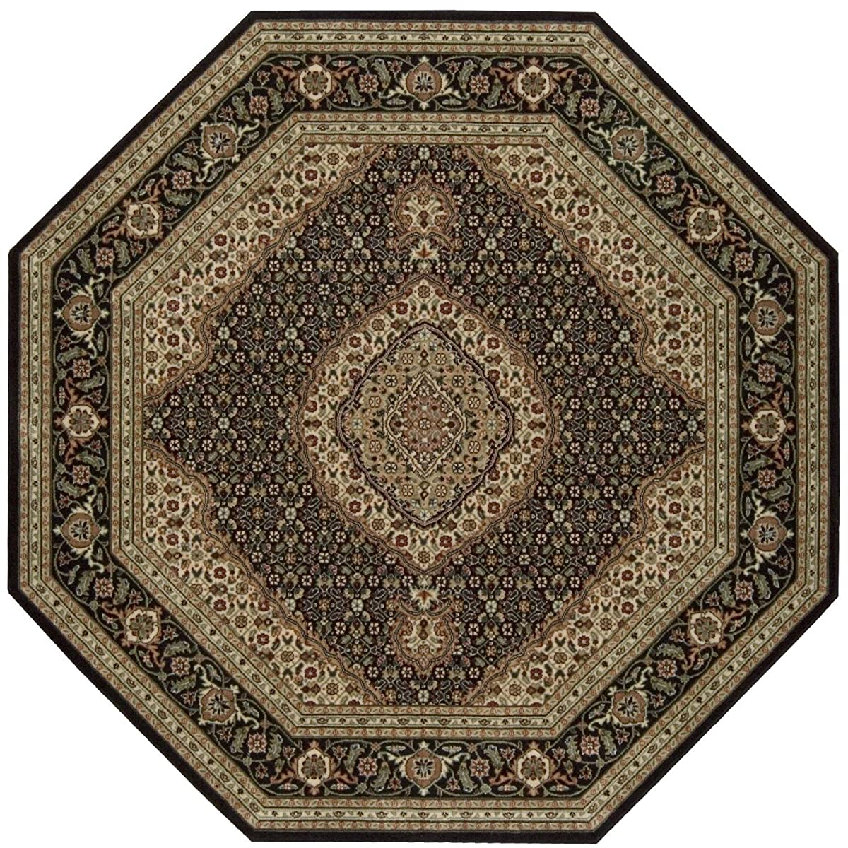 "Nourison Persian Arts (BD03) Black Octagon Area Rug, 5-Feet 3-Inches by 5-Feet 3-Inches (53"" x 53"")"