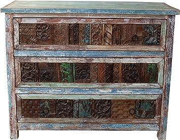 Schubfachkommode mit alten Blockdruck-Stempeln (JH0-234) / Kommoden & Fernsehtische