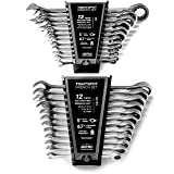24pc IN/MM TIGHTSPOT Ratchet Wrench MASTER SET - Inch & Metric With Quick Access Wrench Organizer - Our standard in combination wrench sets from gear to tip (Color: Polished Mirror Finish, Tamaño: 24pc Inch + Metric)