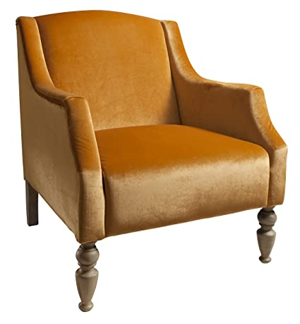 Gallery Direct Larissa Velvet Chair, Fabric, Mustard, 31 x 34.5 x 35-Inch