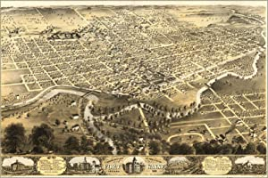 Birdseye View Map Of Fort Wayne, Indiana 1868