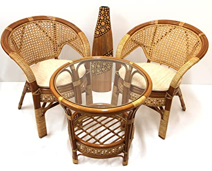 Lounge Set 1 Round Coffe Table 2 Chairs ECO Handmade Rattan Wicker Cognac