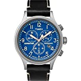 Timex Men's TW4B12400 Expedition Scout Chrono Black/Blue Leather Strap Watch (Color: Black/Silver/Blue)