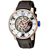 GV2 by Gevril Motorcycle Sport Mens Swiss Automatic Brown Leather Strap Watch, (Model: 1302)