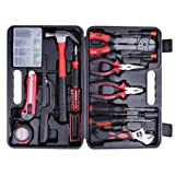 CARTMAN Tool Set 160pcs, General Household Hand Tool Kit with Plastic Toolbox, Electrician's Tools in Storage Case (Color: Red, Tamaño: 160pcs)