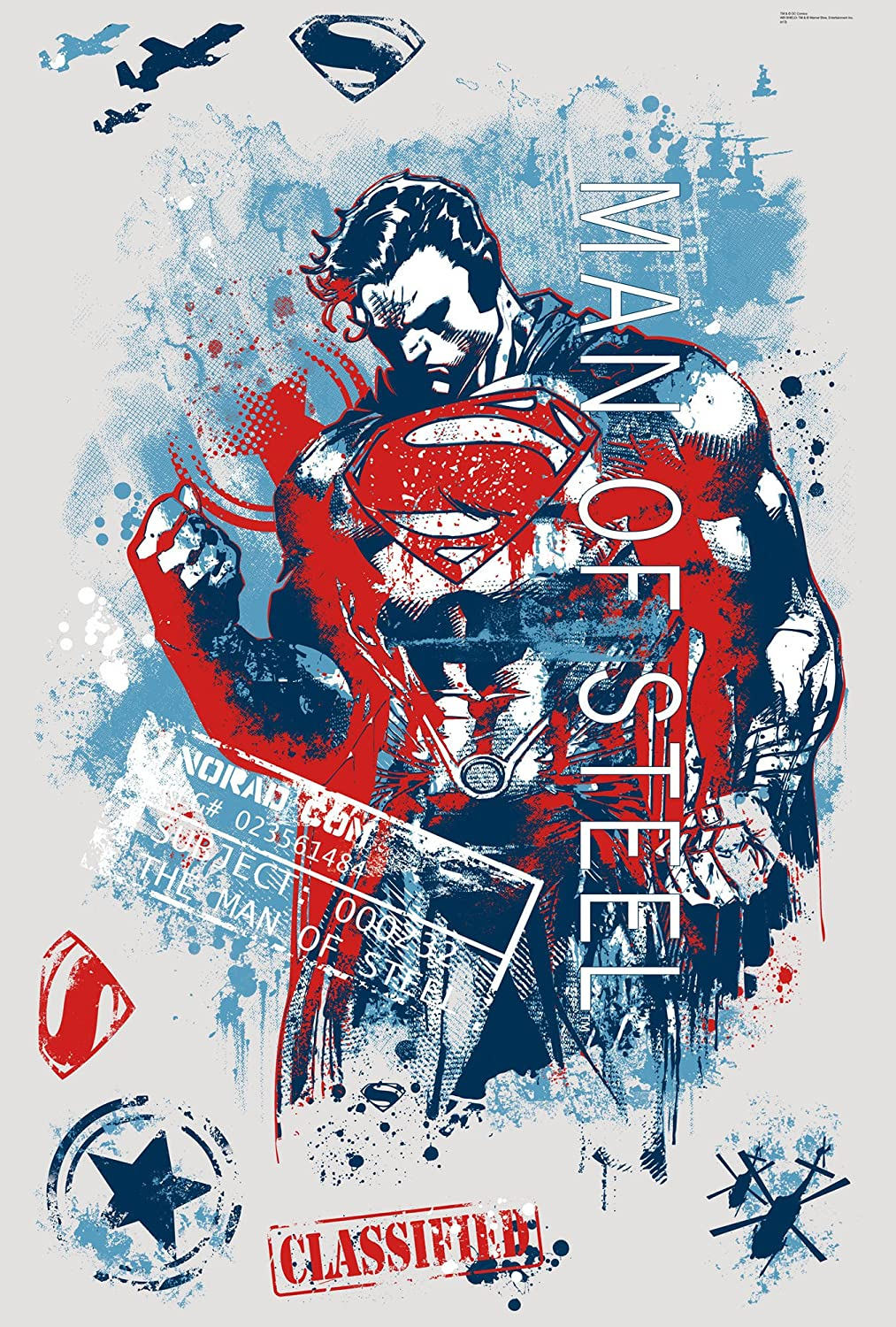 Superman Man Of Steel Distressed Graphic Peel and Stick Giant Wall Decals