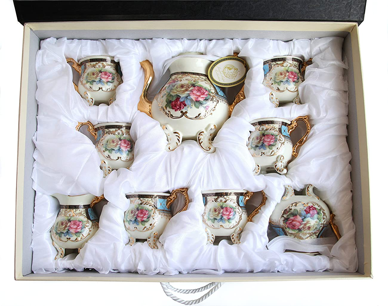 Royal Porcelain 10-Piece Vintage Floral Dining Tea Cup SET, Service for 6, Handmade & Hand-painted, 24K Gold-plated 6