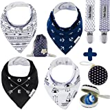 Baby Bandana Drool Bibs by Dodo Babies + 2 Pacifier Clips + Pacifier Case in a Gift Bag, Pack of 4 Premium Quality For Boys or Girls , Excellent Baby Shower / Registry Gift (Color: Black blue white)