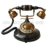 Black Antique Brass Telephone Home And Office Decorative Royal Handmade Article Fully Functional American Rotary Dial Phone