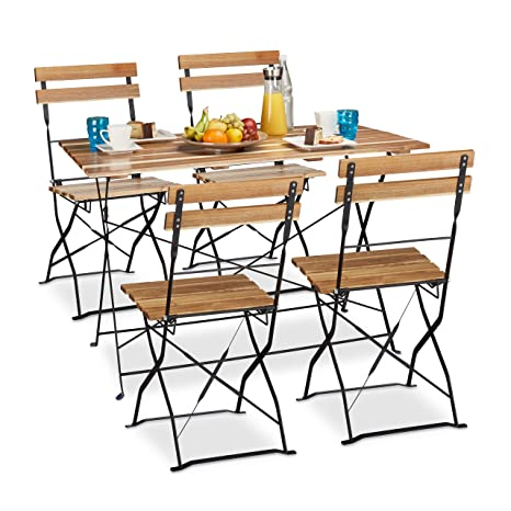 5 tlg Gartensitzgruppe aus Holz, großer Gartentisch, Gartenstuhle klappbar, ohne Armlehnen, fur 4 Personen, natur