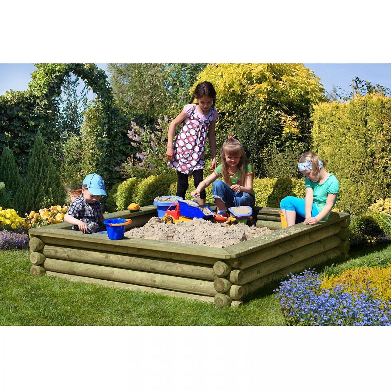 Sandkasten 180×180 cm aus Rundholz Ø 10cm – Premiumqualität von Gartenpirat® jetzt bestellen