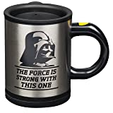 Star Wars Darth Vader 12 oz. Stainless Steel Self Stirring Travel Mug - Mix Your Drink with the Force (Color: Black, Tamaño: One Size)