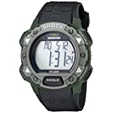 Timex Men's T49897 Expedition Rugged Shock Digital Chrono Alarm Timer Green Case Black Resin Strap Watch (Color: Grey, Tamaño: O/S N/A)