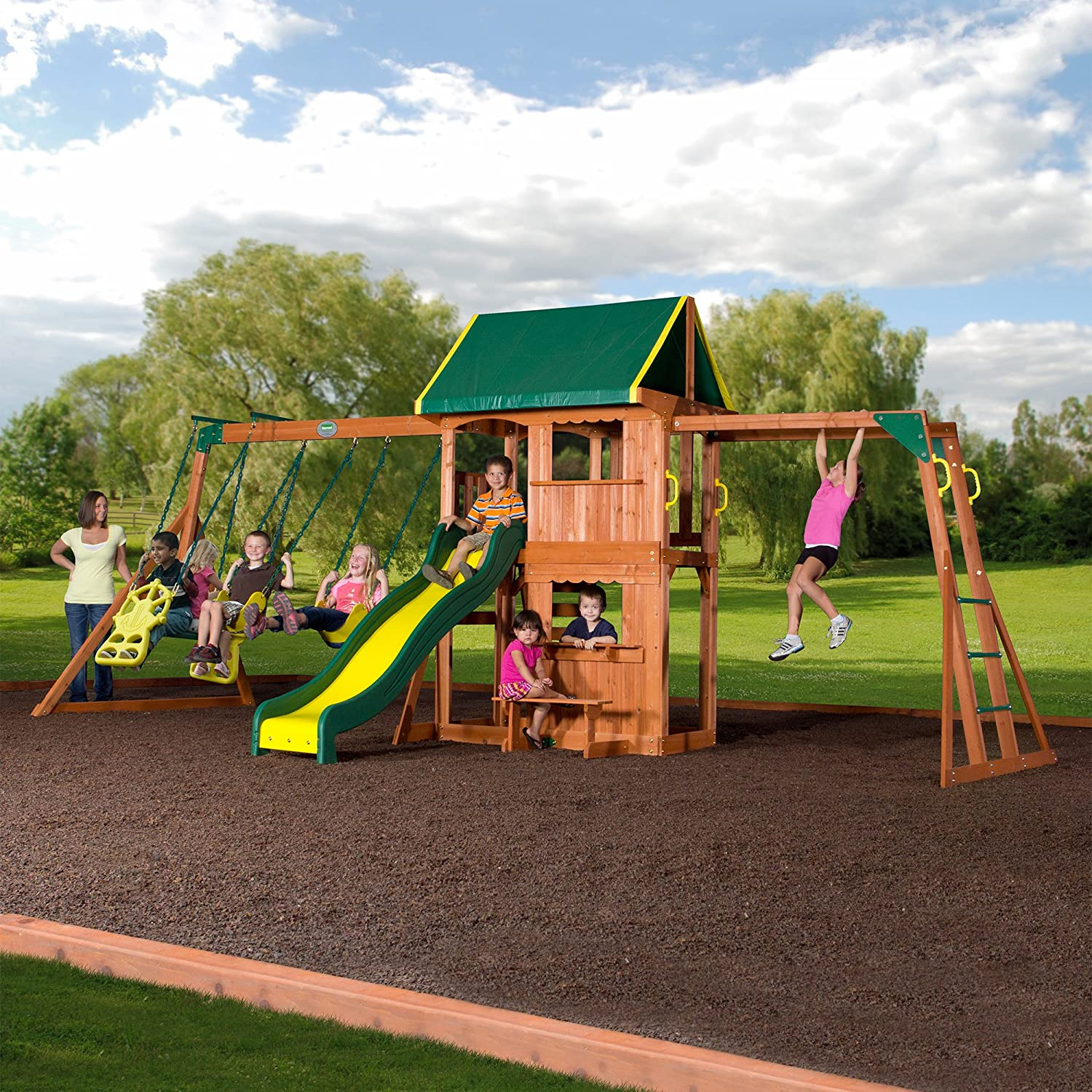 Outdoor Cedar Wooden Swing Set, Kids Play Center, Slide
