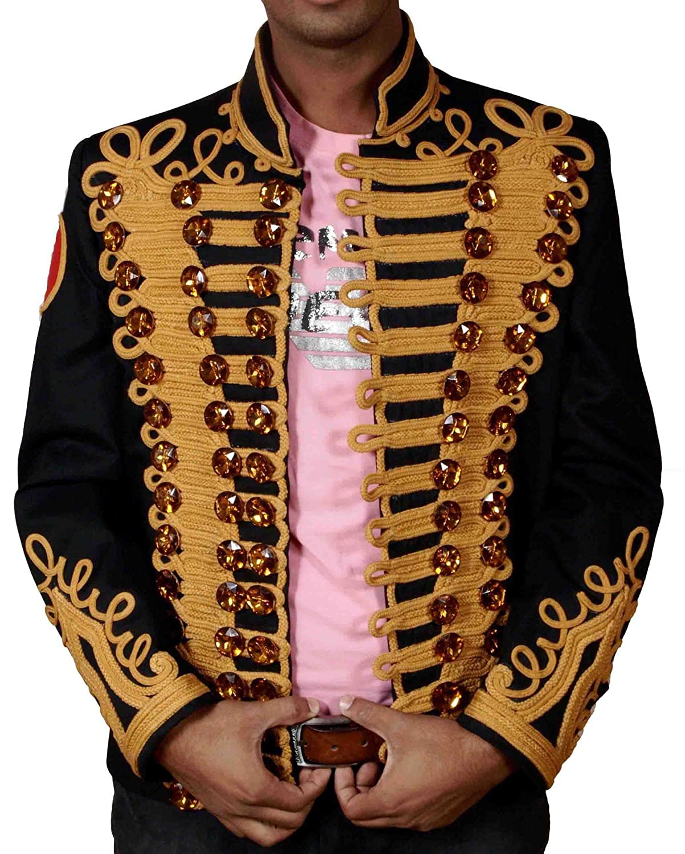 HLS Michael Jackson Golden Hand Work Military Jacket