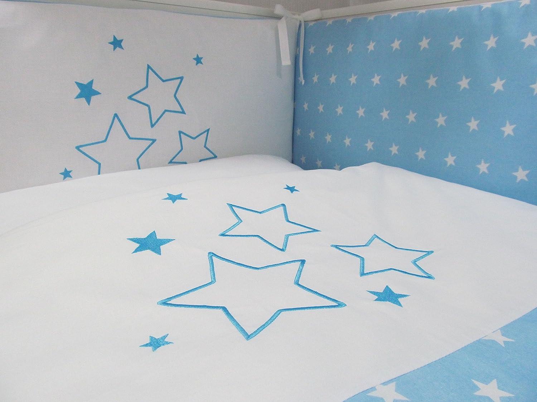 baby bettw sche set stars 4tlg bett set 100x135 voile babybett 70x140 sterne ebay. Black Bedroom Furniture Sets. Home Design Ideas