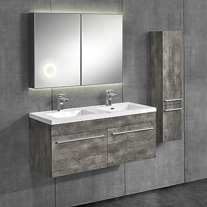 [neu.haus] Set mobile da bagno color cemento 3-pezzi con lavabo e specchio