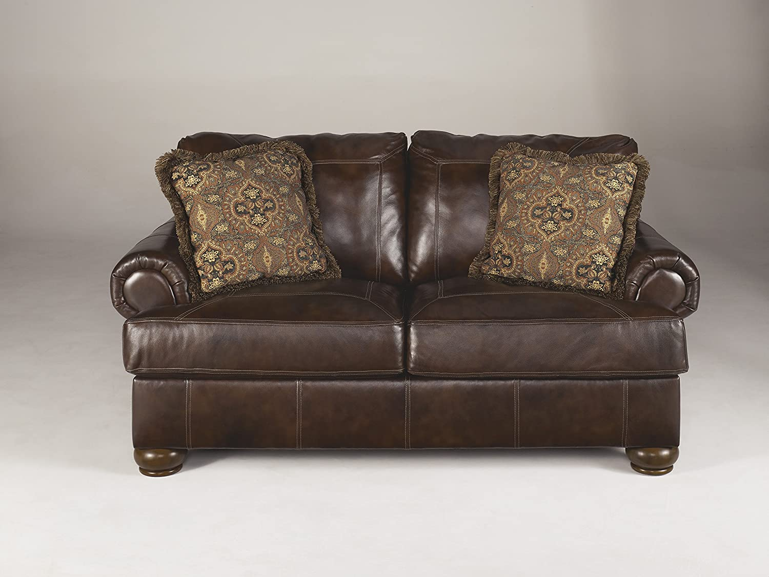 Axiom Walnut Color Vintage Casual Rich Leather Loveseat