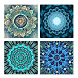 4 Pack 5D DIY Diamond Painting Set Decorating Cabinet Table Stickers Crystal Rhinestone Diamond Embroidery Paintings Pictures For Study Room,Flower Painting(25X25CM/9.8X9.8inch) (Color: Set a)