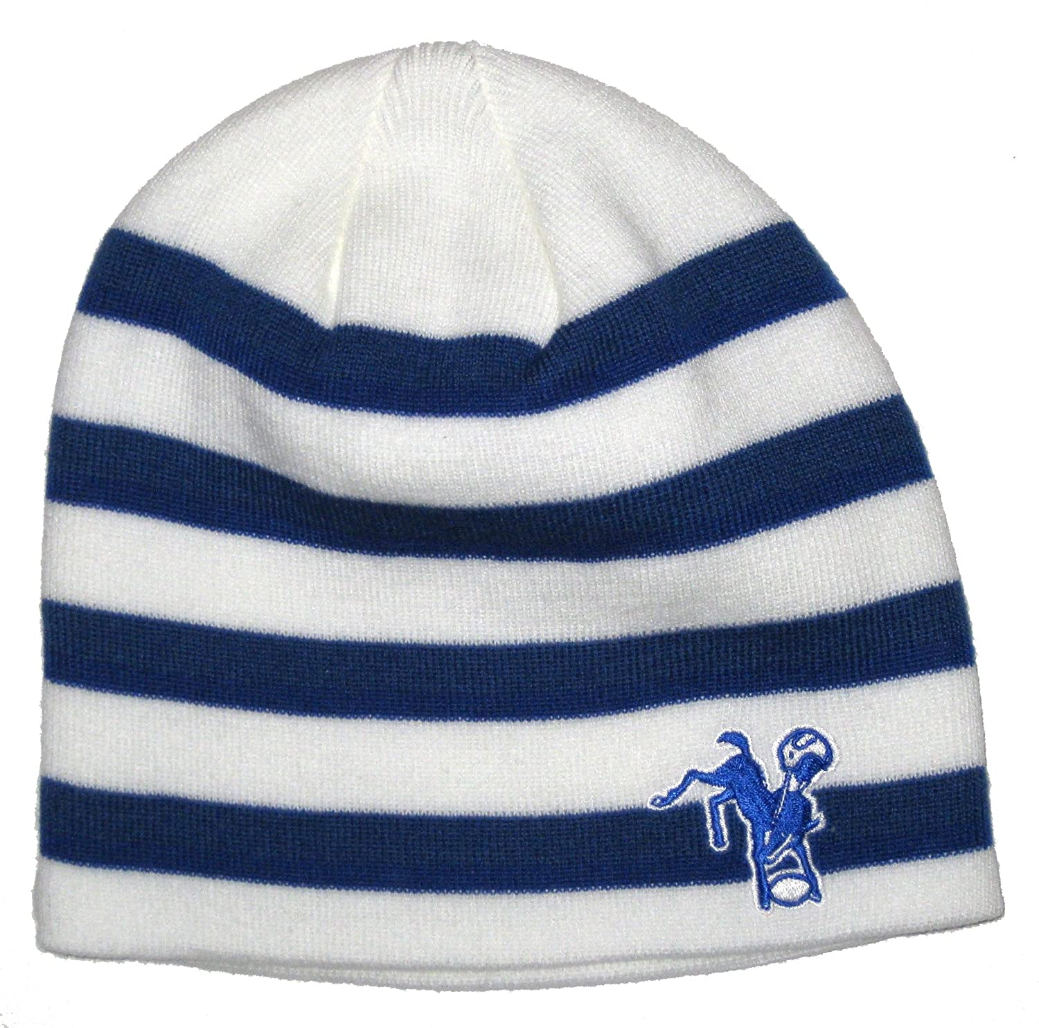 Indianapolis Colts NFL Reebok Team Apparel Vintage White Striped Team Colors Knit Beanie Hat colts car floor mat set of 2 nfl