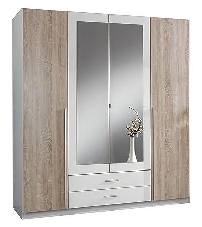 Wimex 119453 Kleiderschrank, 4-turig mit zwei Schubkästen und zwei Spiegelturen, Front Korpus Außenturen Eiche Sägerau Nachbildung, 180 x 198 x 58 cm