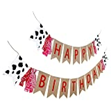 Farm Theme Birthday Banner, Burlap Barn Party Sign, Cow Print Fabric Happy Bday Banner Decorations (Color: Burlap Farm Bday Banner)