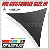 ColourTree 20' x 20' x 20' Black Sun Shade Sail Triangle Canopy – UV Resistant Heavy Duty Commercial Grade Outdoor Patio Carport (Custom Size Available)
