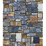 3D Stone Brick Wallpaper Self-Adhesive Vinyl Decorative Paper Easily Removable Wallpaper Peel Stick Waterproof Wall Covering for Home Design (17.7