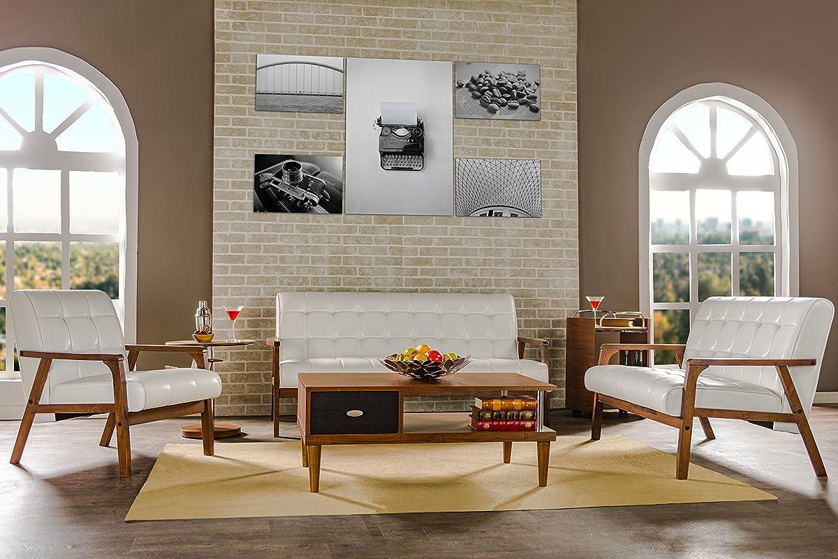 Baxton Studio Mid-Century Masterpieces Loveseat, White
