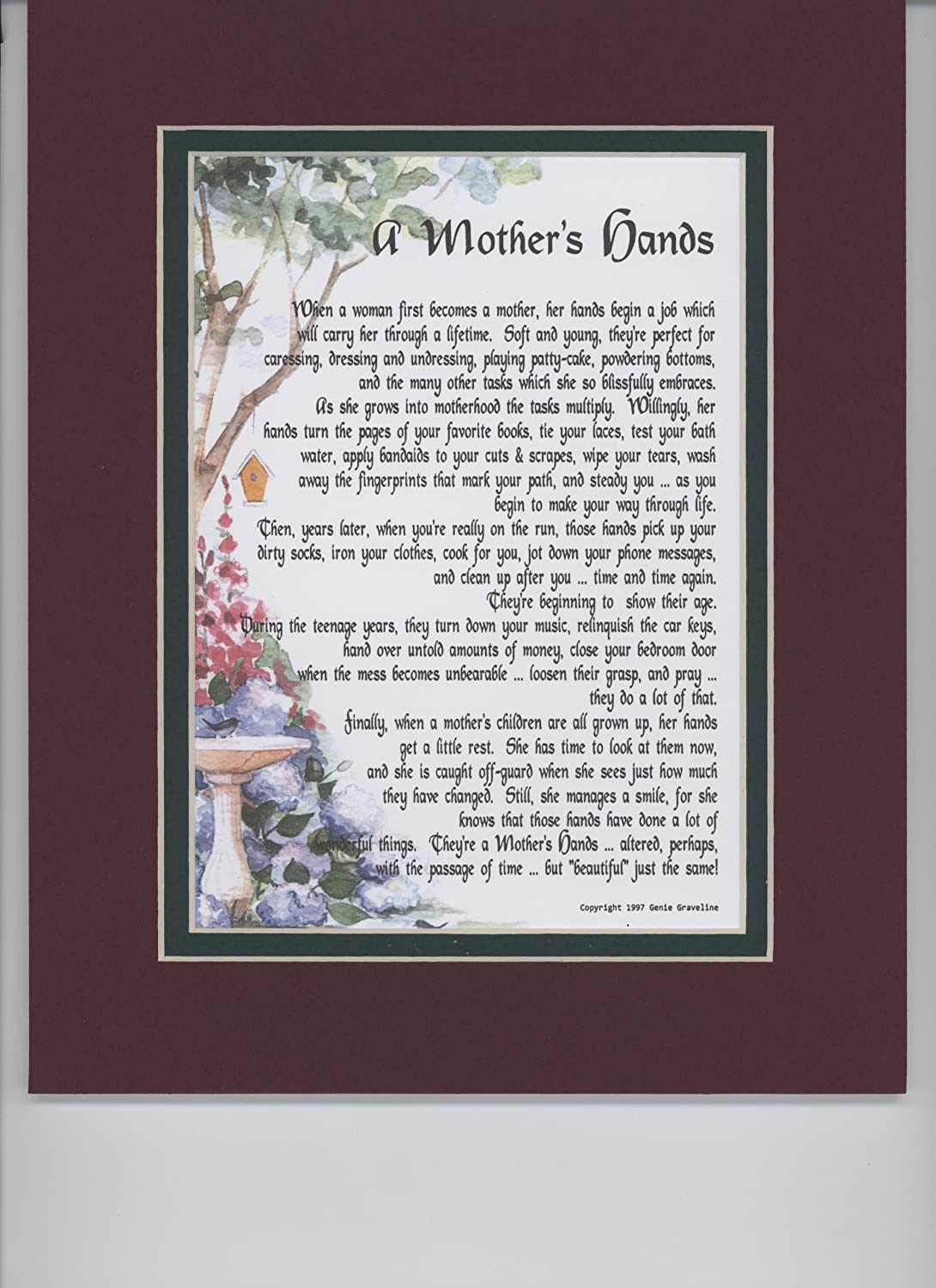 Ароматические свечи A Mother's Hands. A Gift For A Mom Or A Daughter. Touching 8x10 Verse, Double-matted in Burgundy Over Dark Green and Enhanced with Watercolor Graphics.