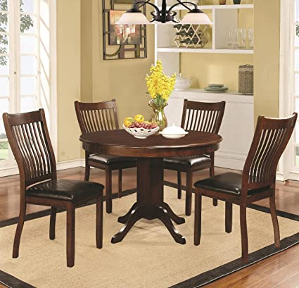Sierra 5 Piece Dining Set with Round Pedestal Table - Cherry Brown Finish