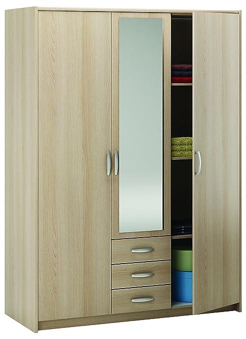Demeyere Manhattan 3 Door 3 Drawer Wardrobe, 200 x 146.5 x 60 cm, Light Oak